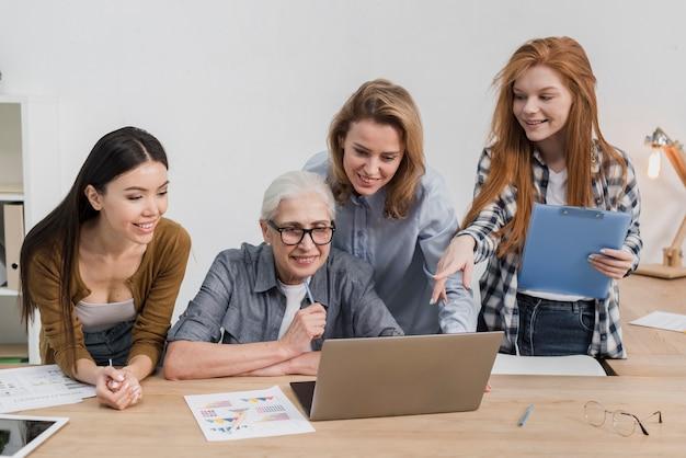 Grupa kobiet wspólnie opracowujących plany
