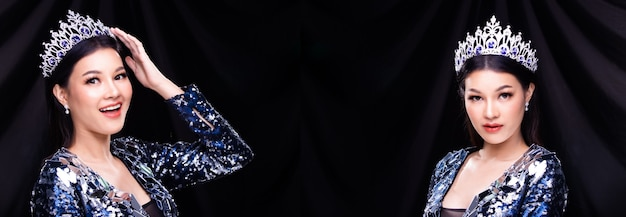 Grupa kolaży portret miss pageant beauty contest w niebieskiej cekinowej sukni balowej z błyszczącym światłem diamentowa korona, azjatka czuje szczęśliwy uśmiech i stawia wiele różnych stylów na ciemnej zasłonie