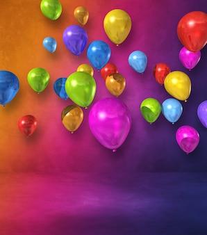 Grupa kolorowych balonów na ścianie tęczy. renderowanie ilustracji 3d