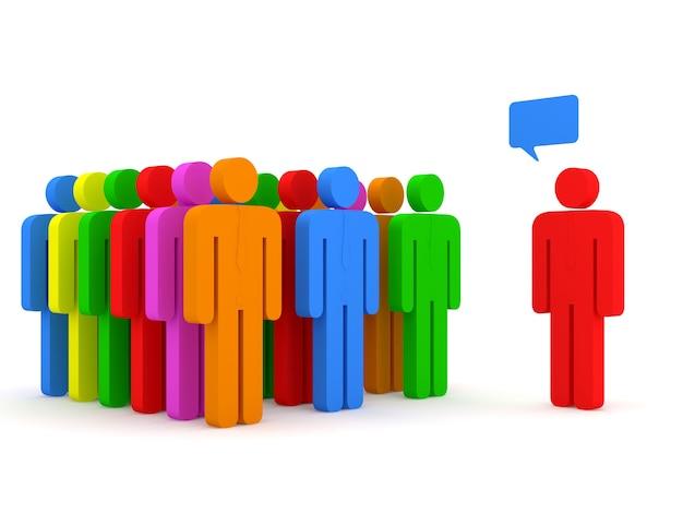 Grupa kolorowych ludzi w spotkaniu na białym tle