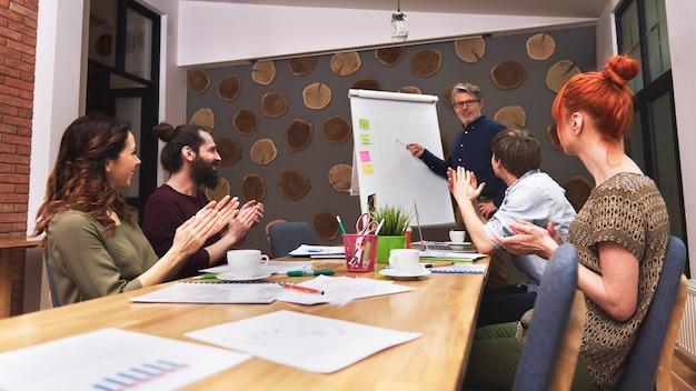 Grupa kreatywnych ludzi analizująca efekt pracy
