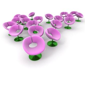 Grupa krzeseł przypominających kwiaty