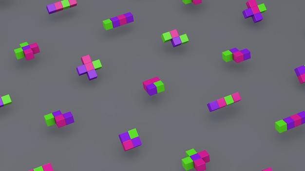 Grupa kształtów geometrycznych, kolorowe kostki. szare tło. streszczenie ilustracji,