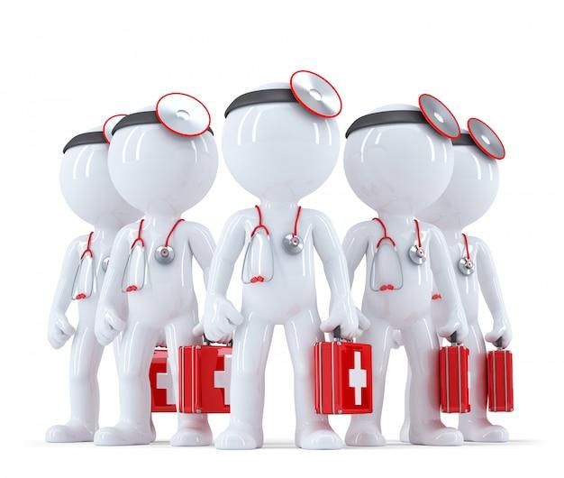 Grupa lekarzy. 3d ilustracji. odosobniony. zawiera ścieżkę przycinającą
