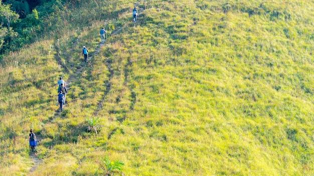 Grupa ludzi wycieczkuje w krajobrazowym zielonym szkle wysokiej wzgórze góra w elewacja widoku.