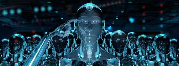 Grupa męskich robotów podążających za armią cyborga lidera