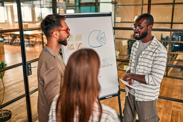 Grupa młodych biznesmenów omawia biznesplan na tablicy w nowoczesnym biurze.