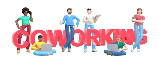 Grupa młodych wieloetnicznych ludzi sukcesu z laptopem, tabletem, telefonem i słowo coworking.