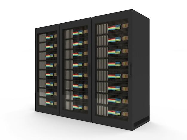 Grupa nowoczesnych szaf serwerowych na białym tle
