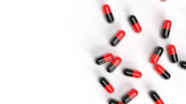 Grupa pigułki medycyna na białym tle. koncepcja badań medycznych i farmacji. uzależnienie od narkotyków. opieka zdrowotna i leczenie na receptę. miękkie jedzenie i witaminy. skopiuj miejsce renderowanie ilustracji 3d