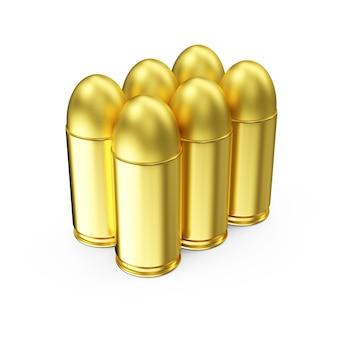 Grupa pocisków pistoletu na białym tle