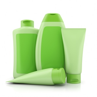 Grupa pojemników zielonych kosmetyków ekologicznych