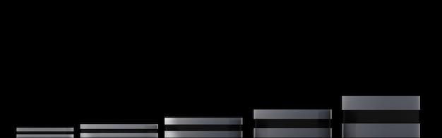 Grupa renderowania 3d czarnego cylindra, abstrakcyjne tło, 3d makieta tła.