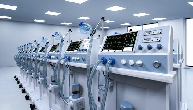Grupa renderująca 3d respiratorów w szpitalu