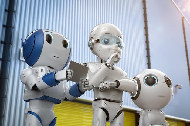 Grupa renderująca 3d uroczych robotów w fabryce dla technologii przemysłowej