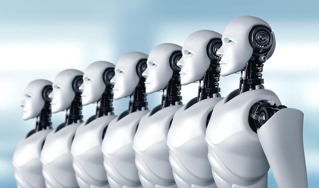 Grupa robotów-humanoidów