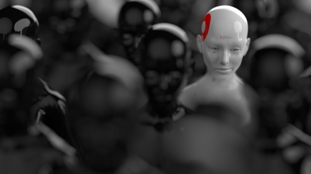 Grupa robotów stojących w rzędach jeden robot ze wszystkich ma wyraźną różnicę
