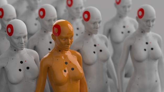 Grupa robotów w kobiecej postaci, z których jeden wyraźnie różni się od pozostałych