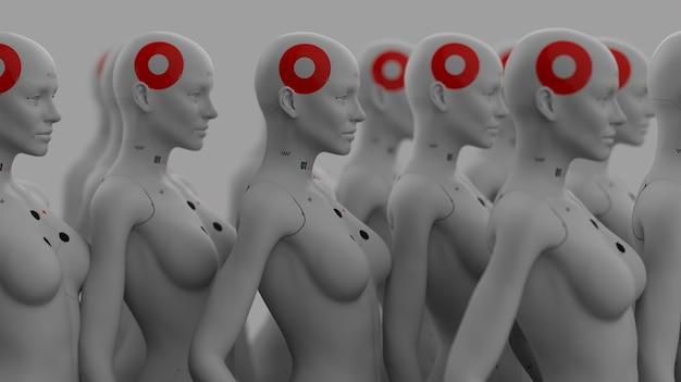 Grupa robotów w kobiecym wizerunku stojąca w rzędach koncepcja sztucznej inteligencji i robotyki
