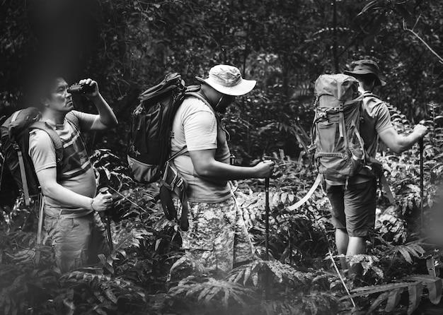 Grupa różnych mężczyzn trekking w lesie razem