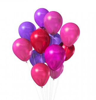 Grupa różowe balony na białym tle