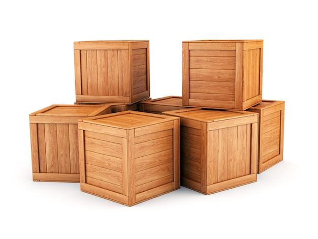 Grupa skrzynek drewnianych