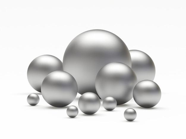 Grupa srebrnych kulek lub kulek o różnych rozmiarach
