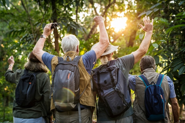 Grupa starsi dorośli trekking w lesie