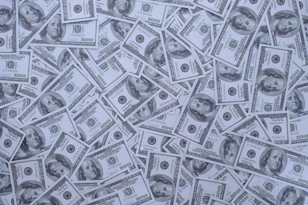 Grupa stosu pieniędzy 100 dolarów banknotów dużo tekstury tła