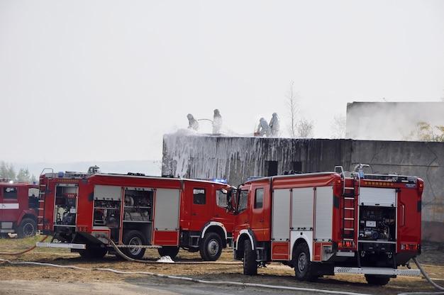 Grupa strażaków atakujących pożar zraszaniem wodą i pianą. strażacy działają