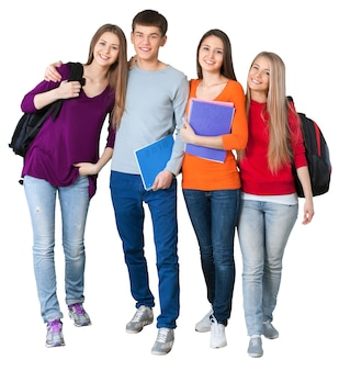 Grupa studentów odizolowanych na białym tle