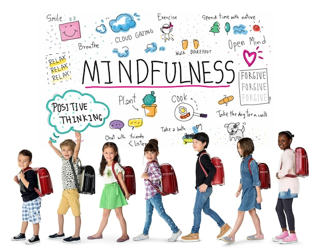 Grupa szczęścia optymistycznych studentów ma uważność spędzanie wolnego czasu