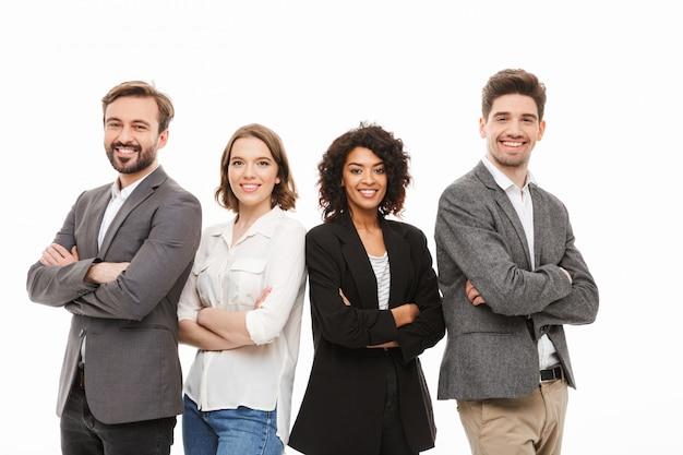 Grupa szczęśliwych wielorasowych ludzi biznesu