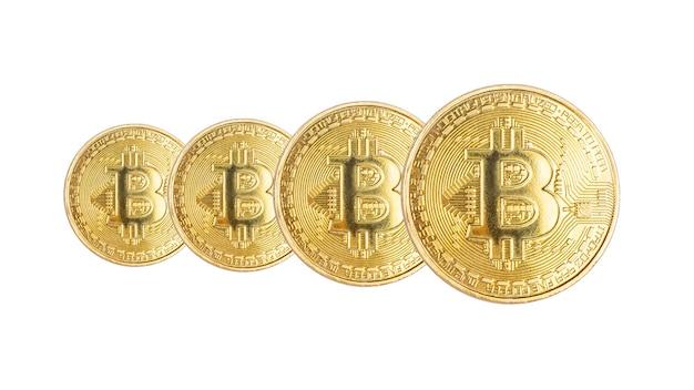 Grupa technologii blockchain cyfrowej waluty złotych monet kryptowaluty bitcoin na białym tle