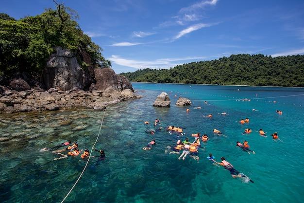 Grupa turystów nurkujących z rurką nosić kamizelkę ratunkową nad rafą koralową z czystą, błękitną wodą oceanu w tropikalnym, czystym morzu
