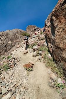 Grupa turystów wspina się na lodowiec bolshoy aktru, ałtaj, rosja. zdjęcie wysokiej jakości