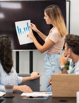 Grupa w coworkingowych wykresach studiów