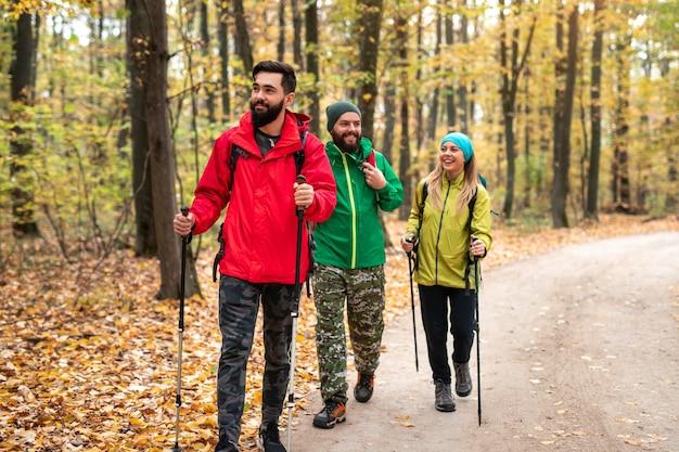 Grupa wesołych młodych przyjaciół w kolorowych ciepłych kurtkach z plecakami i kijkami trekkingowymi spacerująca chodnikiem w jesiennym lesie