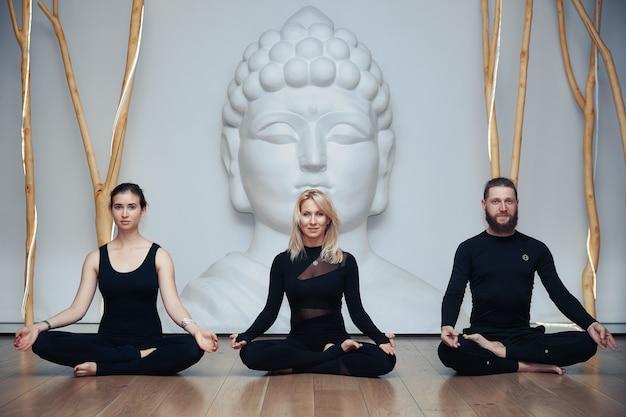 Grupa womans i mężczyzna robi joga w studio
