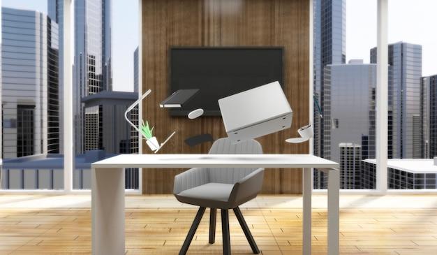 Grupa wyposażenia i akcesoriów biurowych lewitujący nad miejscem pracy w nowoczesnym wnętrzu biura 3d