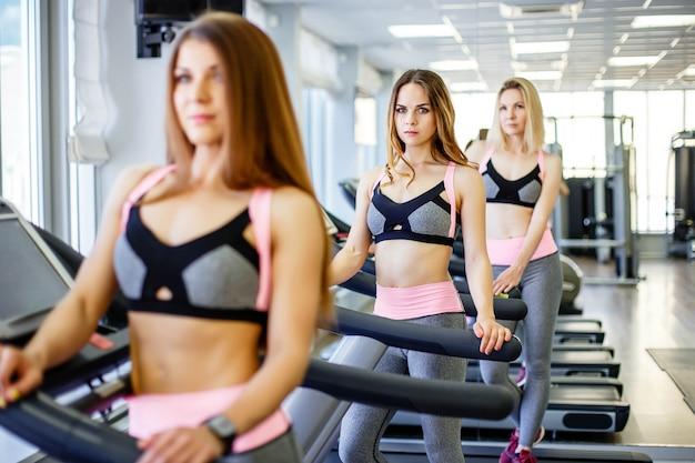 Grupa wysportowanych dziewczyn pozujących do kamery na siłowni