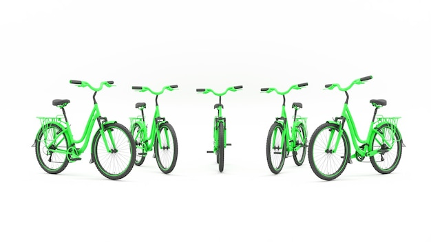 Grupa zielonych rowerów stojących w półkolu, ilustracja 3d