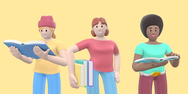 Grupowy portret trzech wielonarodowych postaci z książkami. renderowanie 3d.