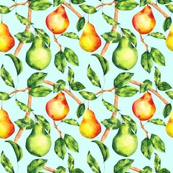 Gruszka akwarela bezszwowe wzór na jasnoniebieskim tle. powtarzający się nadruk jasnego drzewa owocowego. tło botaniczne dla tekstyliów, tkanin, tapet, papieru do pakowania, projektowania i wystroju.