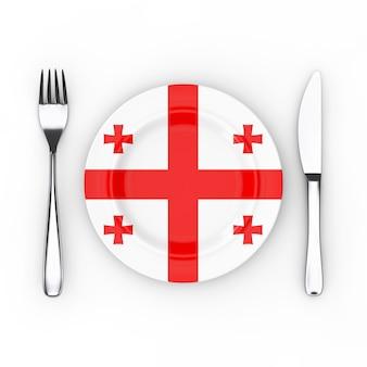 Gruzińska koncepcja żywności lub kuchni. widelec, nóż i talerz z flagą gruzji na białym tle. renderowanie 3d