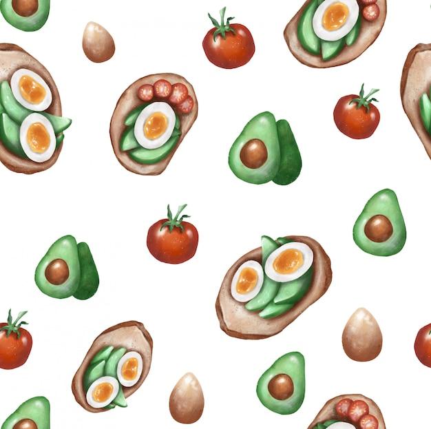 Grzanki z awokado, pomidorem i jajkiem, ilustracja rastrowa, szkic prokreacji