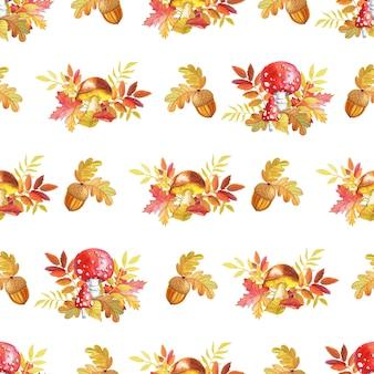 Grzyby akwarelowe kolorowe liście dębu na białym tle