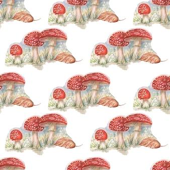 Grzyby amanita rośliny leśne akwarela handdrawn ilustracja
