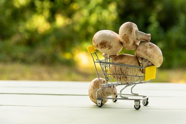 Grzyby w małym wózku zabawkowym na stole natury.