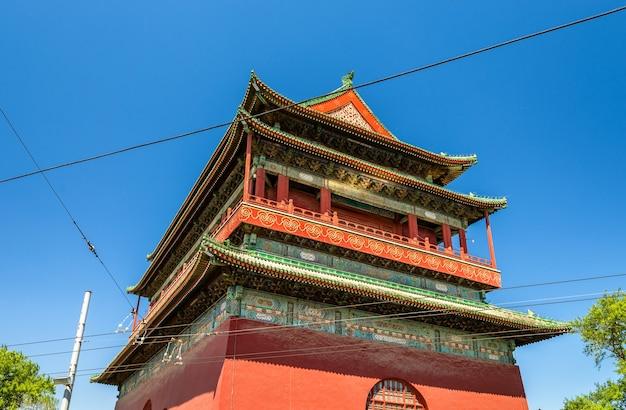 Gulou lub drum tower w pekinie - chiny